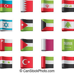 Vector flags. Asia, part 8