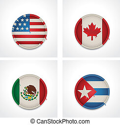 Set of detailed textile badges representing country flags of America
