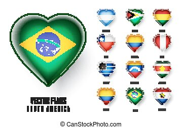 Vector flags of the countries of South America.