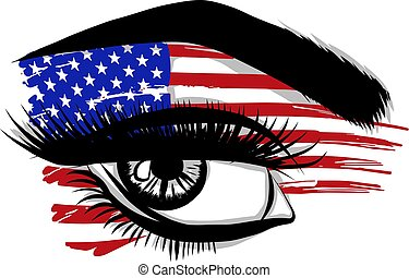 vector Flags of the USA in beautiful female eye