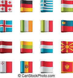 vector, flags., parte, 2, europa