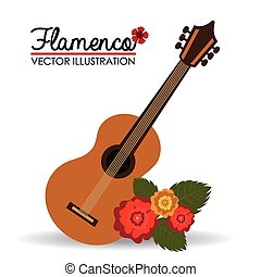 vector, flamenco, diseño, illustration.