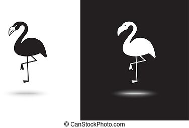 vector flamingo icon on black and white background