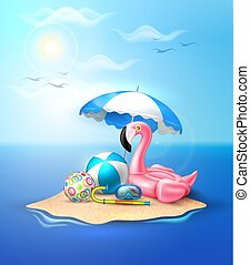 Vector flamingo inflatable pool ring on beach - Vector...