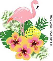 flamingo - vector flamingo with tropical flowers