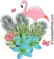Vector Flamingos and Flowers