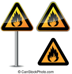 Vector flammable sign