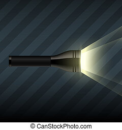 Vector flashlight on dark striped background - Vector...
