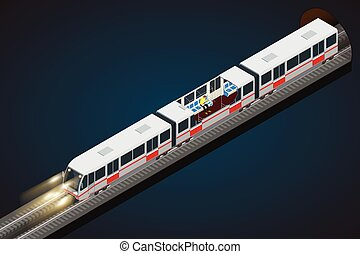 Vector flat 3d isometric illustration of a subway train. Train, Sky Train, Subway. Vehicles designed to carry large numbers of passengers.