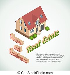 Vector flat 3d real estate poster