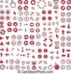 Vector flat 8 bit icons, collection of simple geometric pixel symbols. Simplistic arrows set, digital web signs.