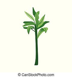 Vector flat abstract green plant with leaves icon