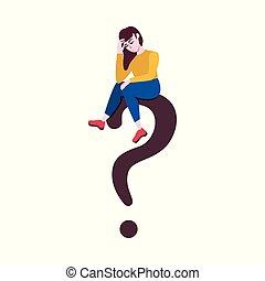 Vector flat adult caucasian woman at question - Adult sad...