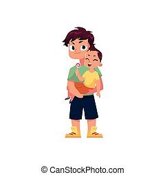 vector flat adult man and infant baby