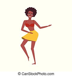 vector flat african girl dancing at beach party