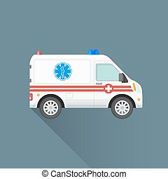vector flat ambulance car illustration icon