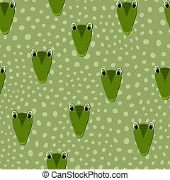 Vector flat animals colorful illustration for kids. Seamless pattern with cute crocodile face on green polka dots background. Adorable cartoon character. Design for card, poster, fabric, textile.