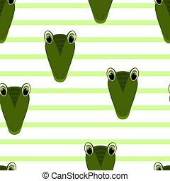 Vector flat animals colorful illustration for kids. Seamless pattern with cute crocodile face on white striped background. Adorable cartoon character. Design for card, poster, fabric, textile.