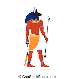 vector flat Anubis egypt god icon - vector flat Anubis -...