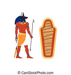vector flat Anubis god and empty sarcophagus icon - vector...