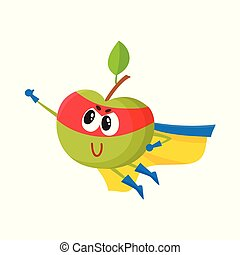 vector flat apple character in cape, mask flying