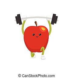 vector flat apple character powerlifting sportsman