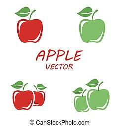 Vector flat apple icons set