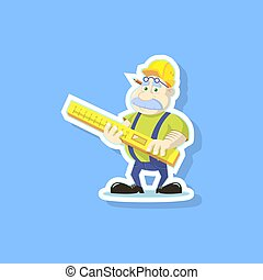 Vector flat art illustration of a cute cartoon builder with ruler