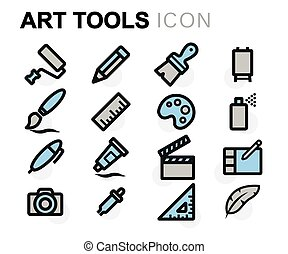 Vector flat art tools icons set