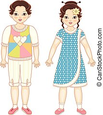 Vector flat asian boy and girl kids smiling.