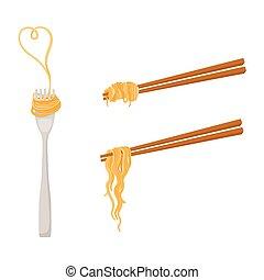 vector flat asian noodle on sticks, fork set