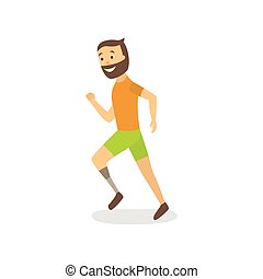 vector flat athlete running with foot prosthesis - vector...