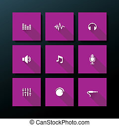 Vector flat audio icon set