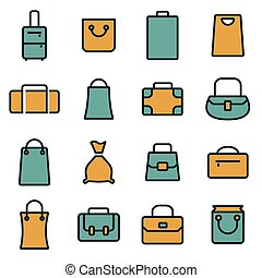 Vector flat bag icons set