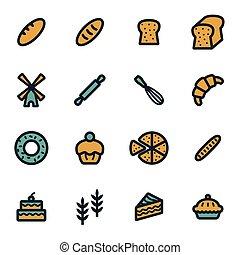 Vector flat bakery icons set