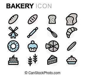 Vector flat bakery icons set