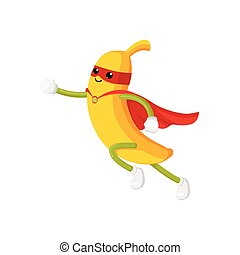vector flat banana character in cape, mask dashing - vector...