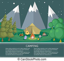 Vector flat banner on the theme of camping with a bonfire. Camping poster. Camping flat illustration. Camping. Summer poster of natural recreation. Vector Stock