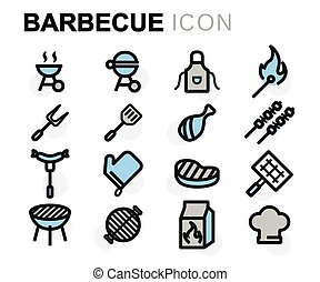 Vector flat barbecue icons set