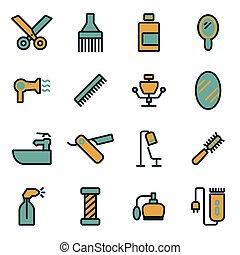 Vector flat barber icons set