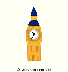vector flat Big Ben tower of united kingdom icon - vector...