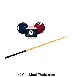 vector flat billiard, snooker symbols set
