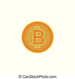 Vector flat bitcoin golden coin icon