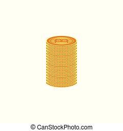Vector flat bitcoin golden coins column stack