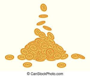 Vector flat bitcoin golden coins falling set.