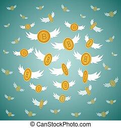 Vector flat bitcoin golden coins flying