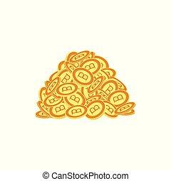 Vector flat bitcoin golden coins pile heap