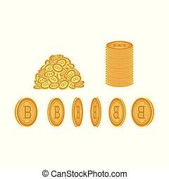 Vector flat bitcoin golden coins set icon