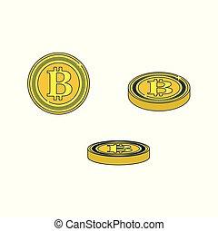Vector flat bitcoin golden coins set.