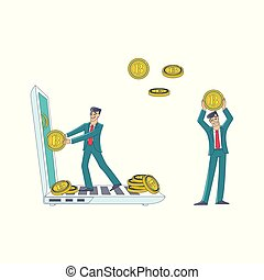 Vector flat bitcoin mining businessman concept set